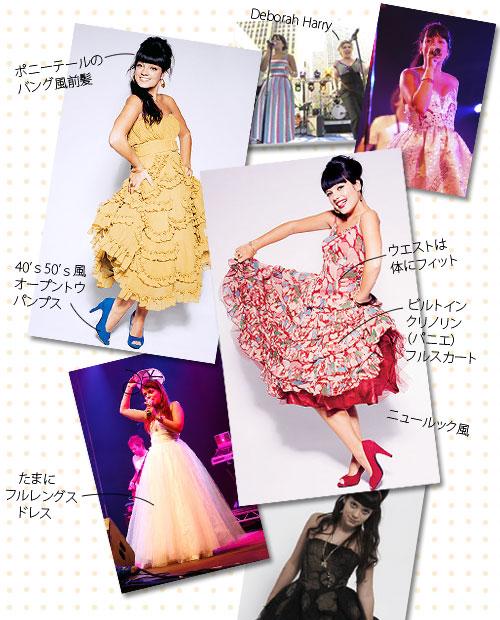 映像や、写真で見るのは1950年代のニュールック風な、ウエストが体にフィットし、ボトムはクリノリン(パニエ)が組み込まれたフルスカートというドレス姿。