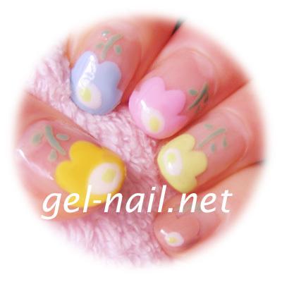 春 パステルカラーのお花ネイル